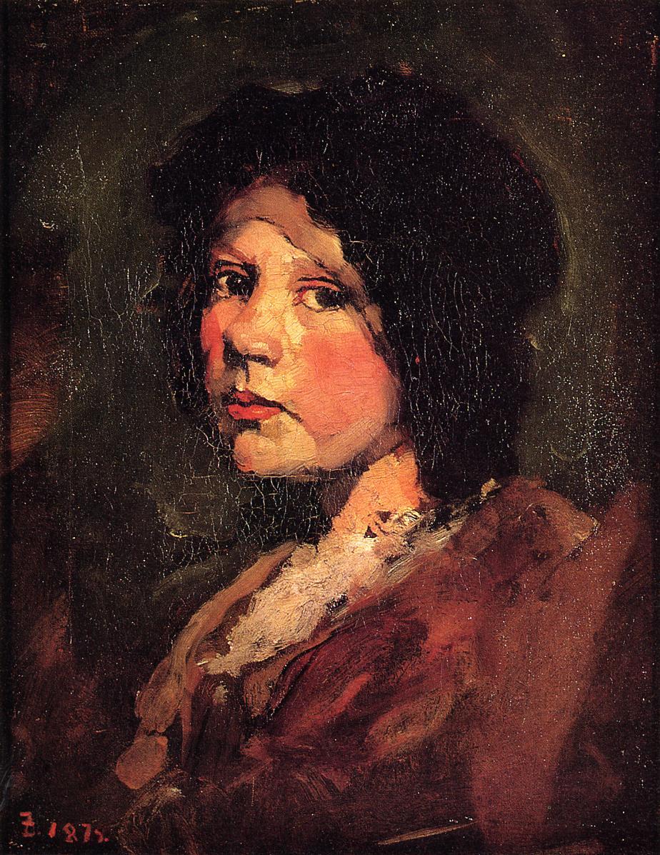 Girl in Black Hood 1879 | Frank Duveneck | Oil Painting