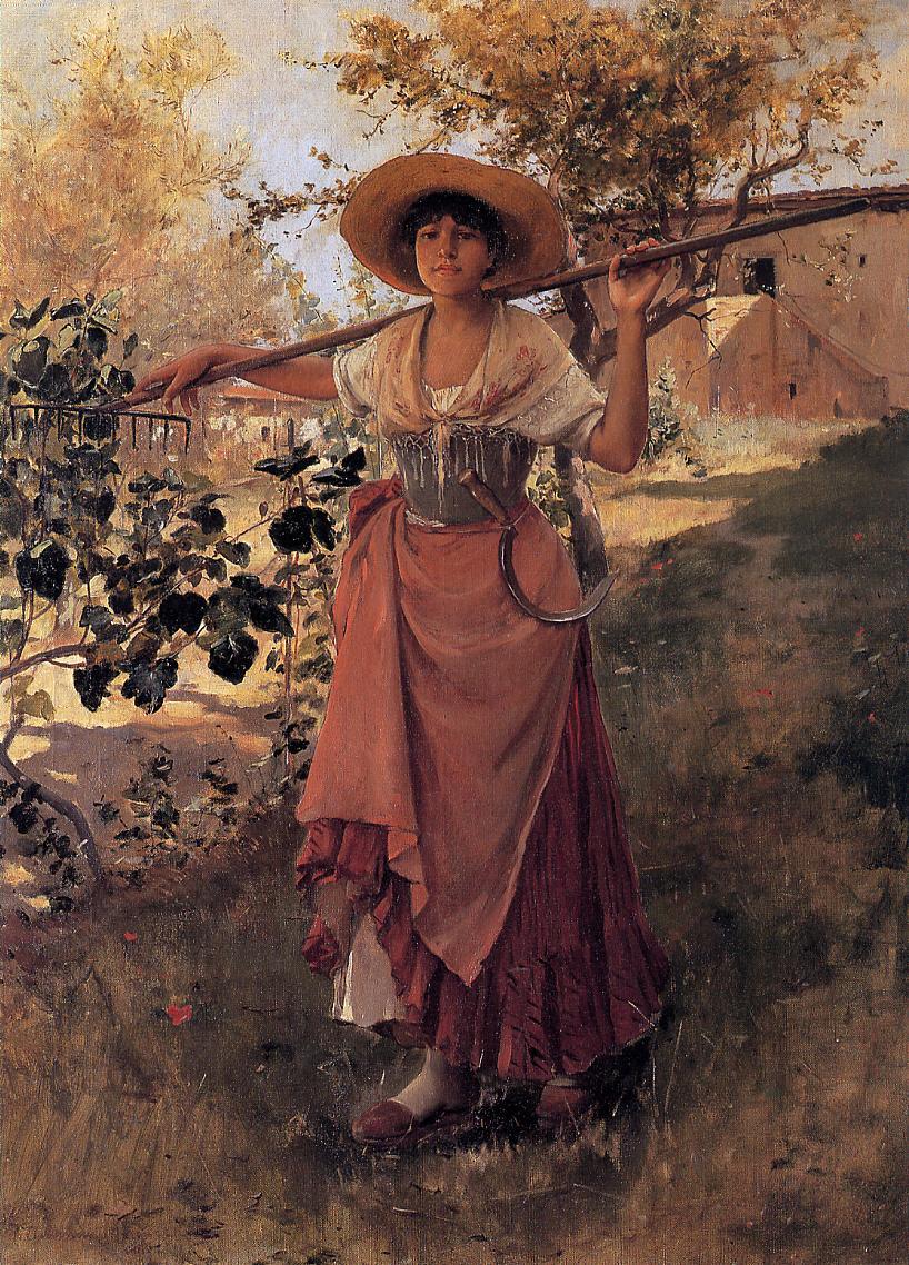 Girl with Rake 1884 | Frank Duveneck | Oil Painting