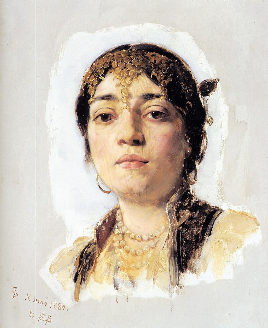 Head of an Oriental Woman 1880 | Frank Duveneck | Oil Painting