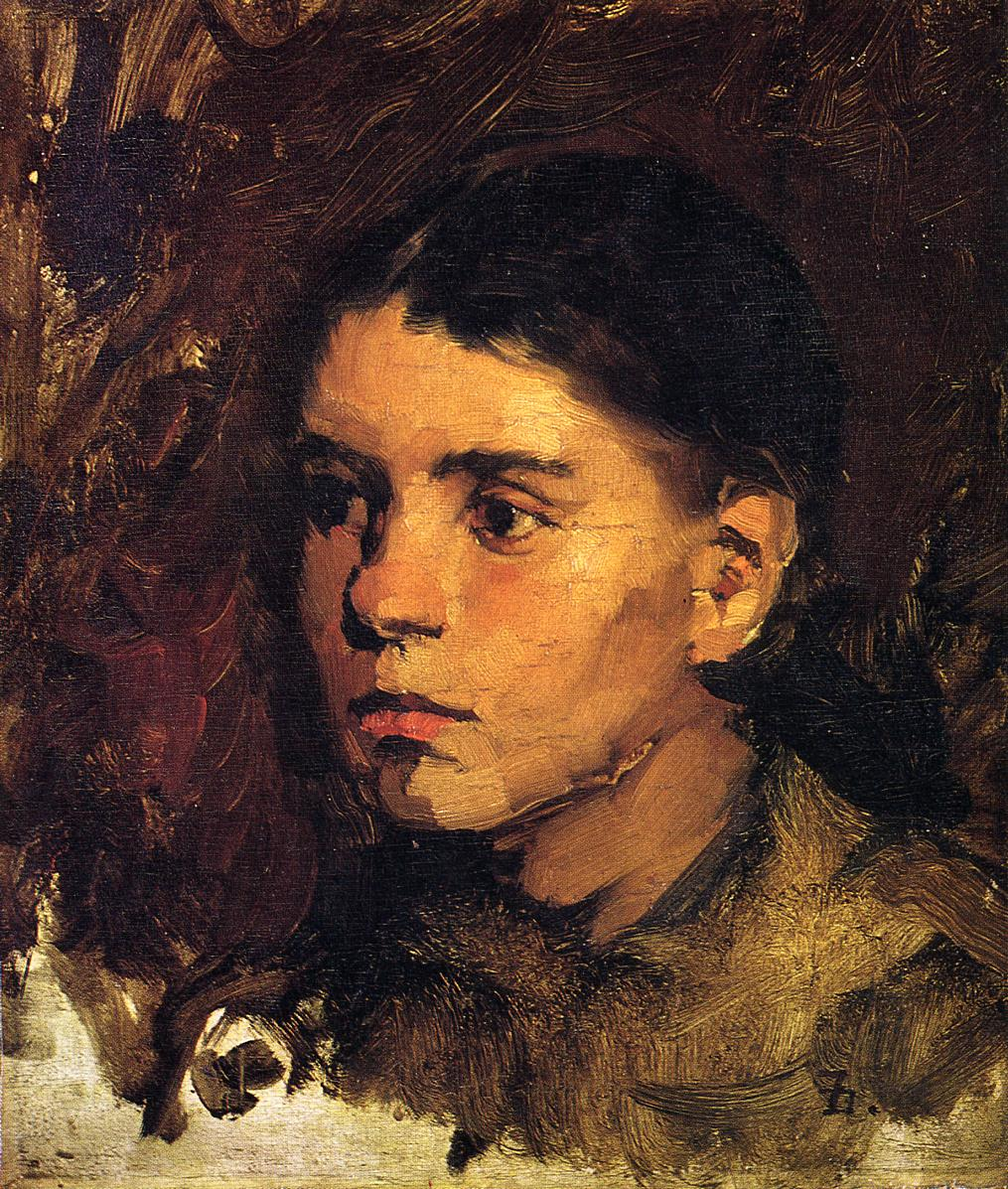 Head of a Young Girl 1878 | Frank Duveneck | Oil Painting