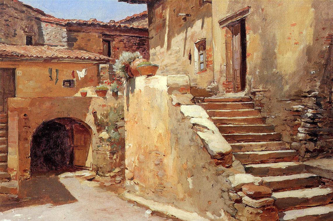 Italian Courtyard 1886-1887 | Frank Duveneck | Oil Painting
