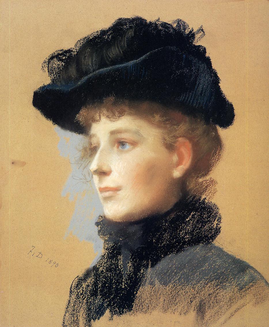 Portrait of a Woman with Black Hat 1890 | Frank Duveneck | Oil Painting
