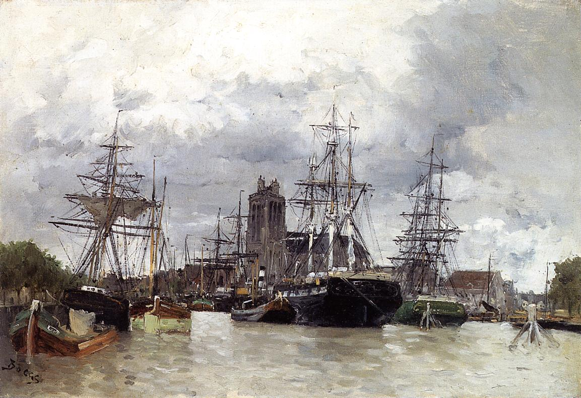 Dordrecht Harbor with Shipping and Cathedral | Frank Myers Boggs | Oil Painting