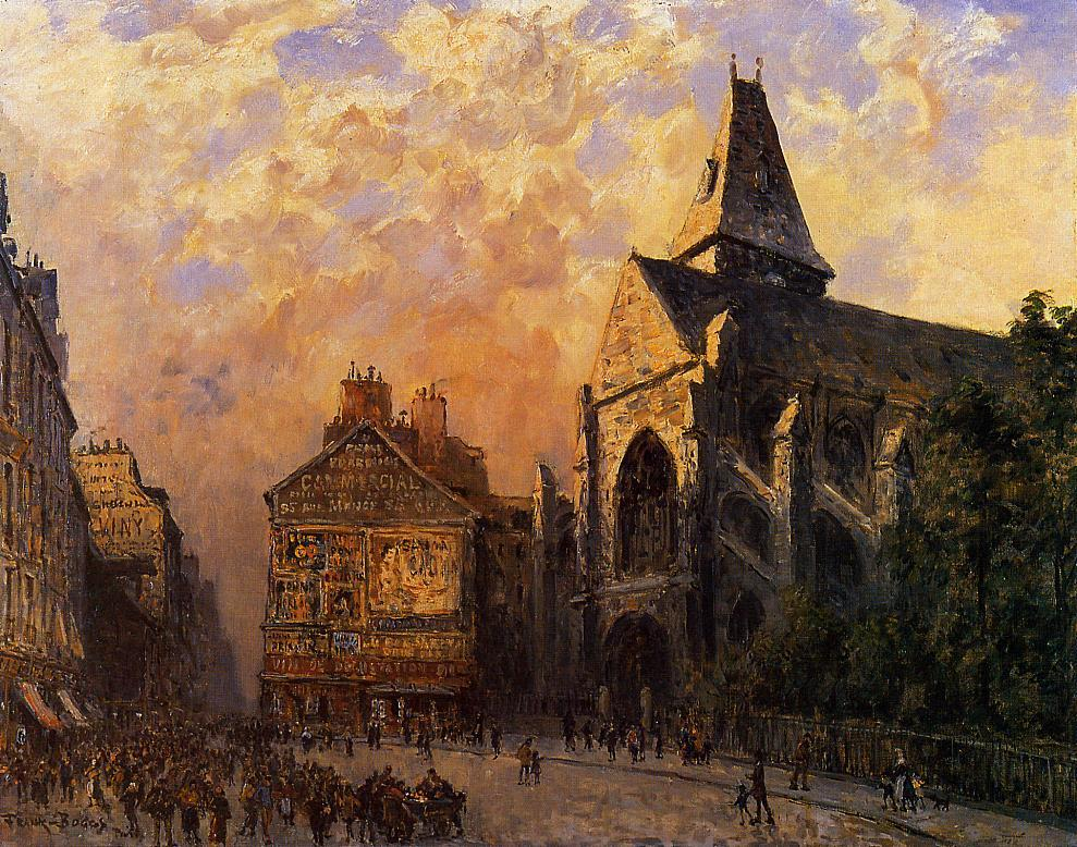 Scene of a Street in front of the Church of Saint-Medard Paris | Frank Myers Boggs | Oil Painting