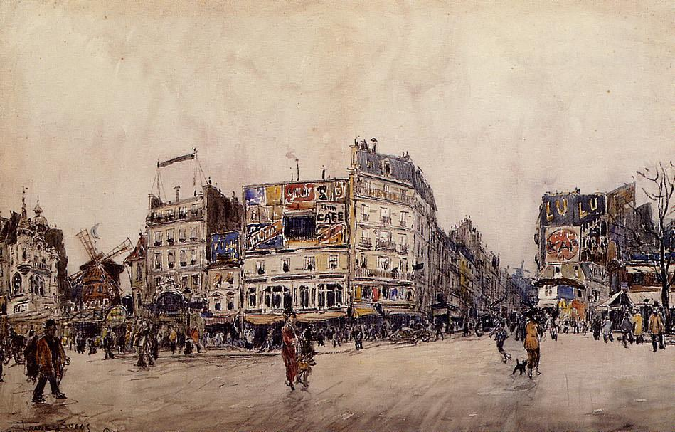 The Moulin Rouge and the Rue Lepic as Seen from the Place Blanche | Frank Myers Boggs | Oil Painting