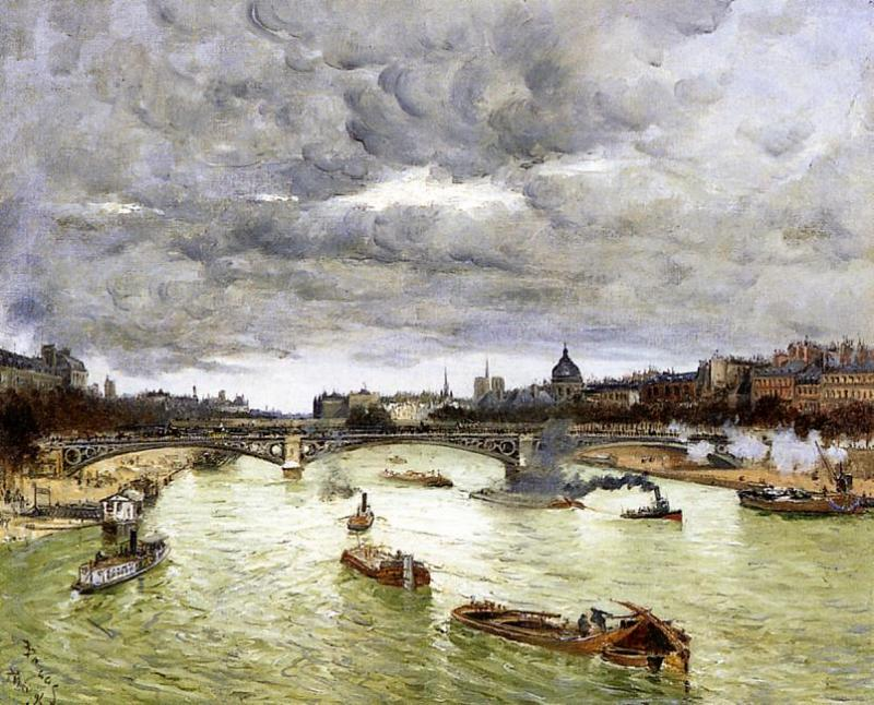 The Seine at Paris with the Pont du Carrousel  1896 | Frank Myers Boggs | Oil Painting