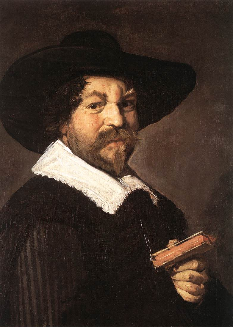 Portrait Of A Man Holding A Book 1640-43   Frans Hals   Oil Painting