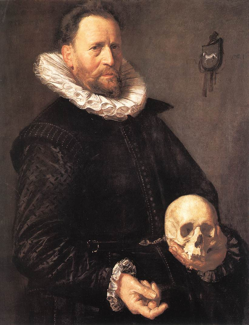 Portrait Of A Man Holding A Skull 1611   Frans Hals   Oil Painting