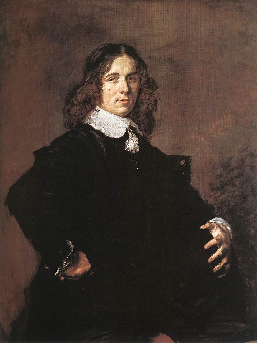 Portrait Of A Seated Man Holding A Hat 1648-50   Frans Hals   Oil Painting