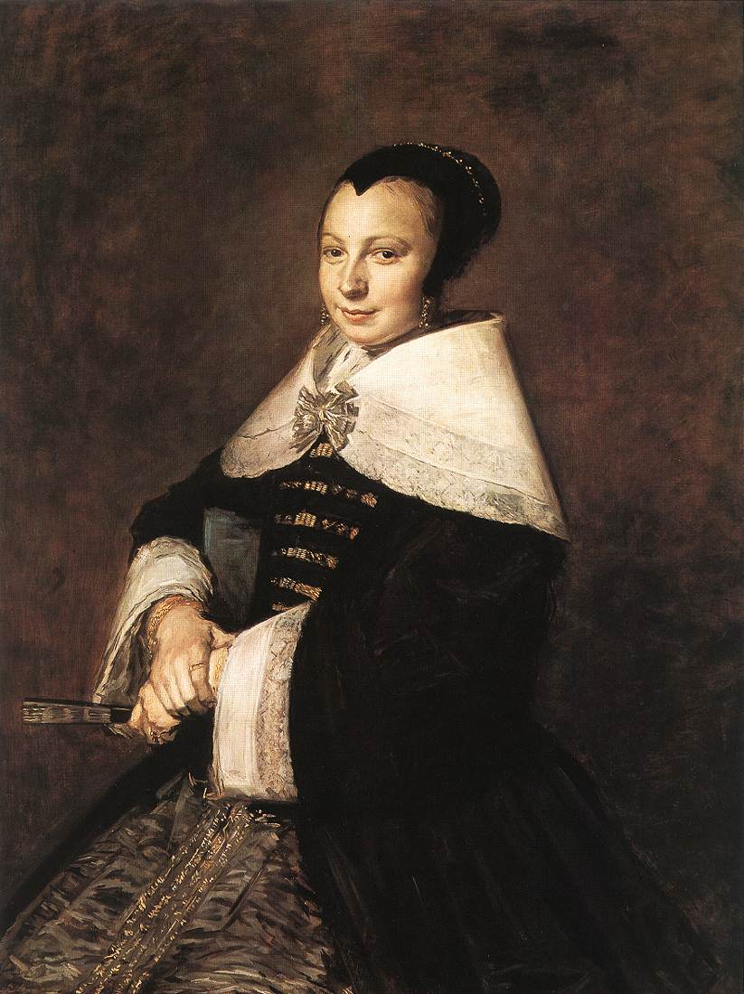 Portrait Of A Seated Woman Holding A Fan 1648-50   Frans Hals   Oil Painting
