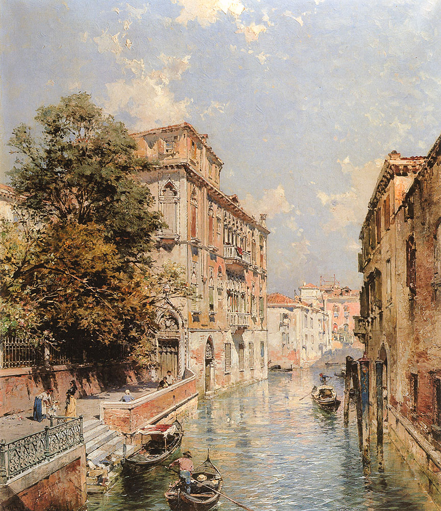 A View in Venice Rio S Marina | Franz Richard Unterberger | Oil Painting