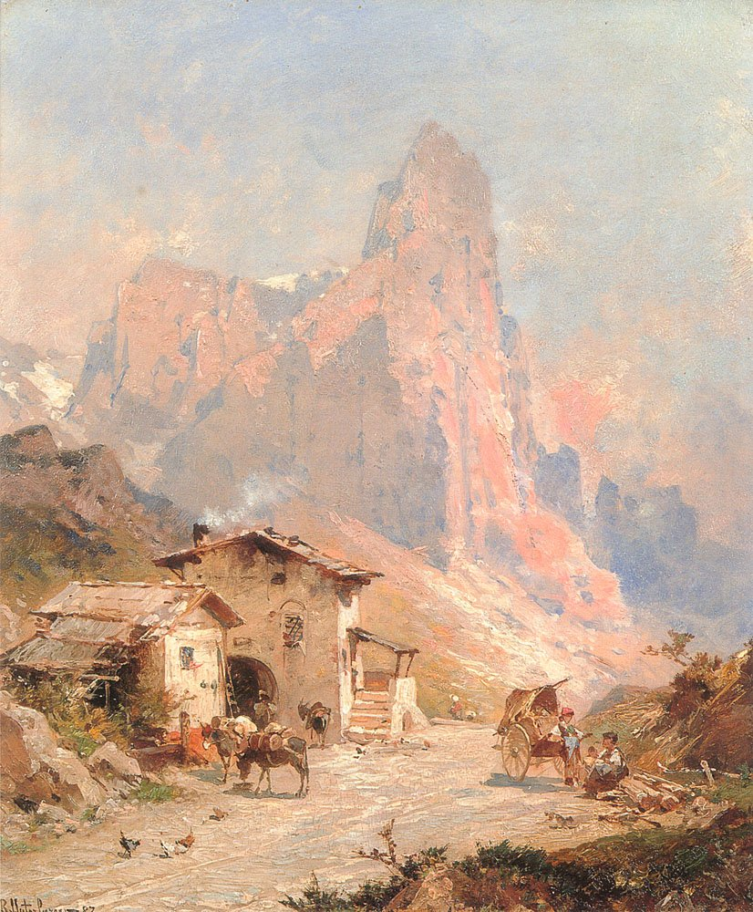 Figures in A Village in the Dolomites | Franz Richard Unterberger | Oil Painting