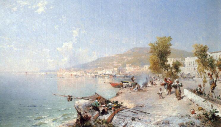 Vietri Sul Mare Looking Towards Salerno | Franz Richard Unterberger | Oil Painting