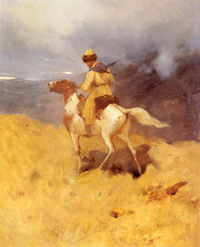 Horseman In A Mountainous Landscape | Franz Roubaud | Oil Painting