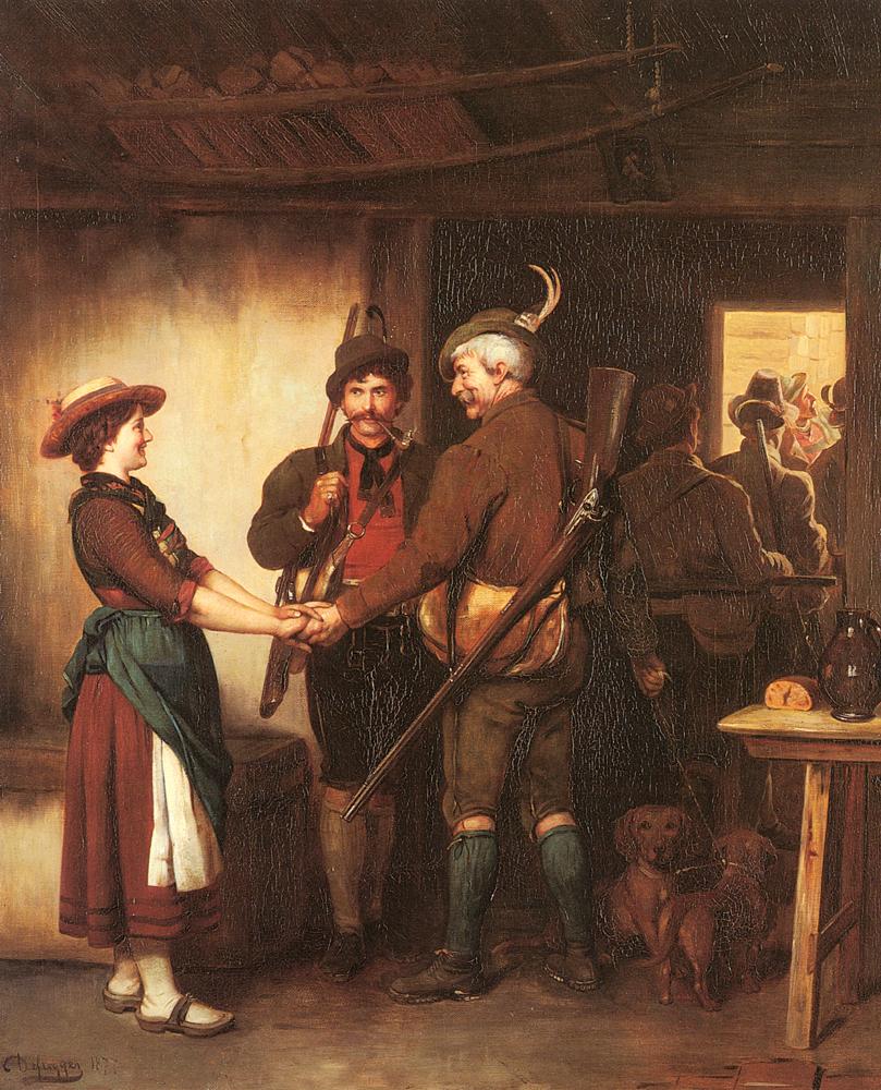 Abschied Der Jager | Franz Von Defregger | Oil Painting