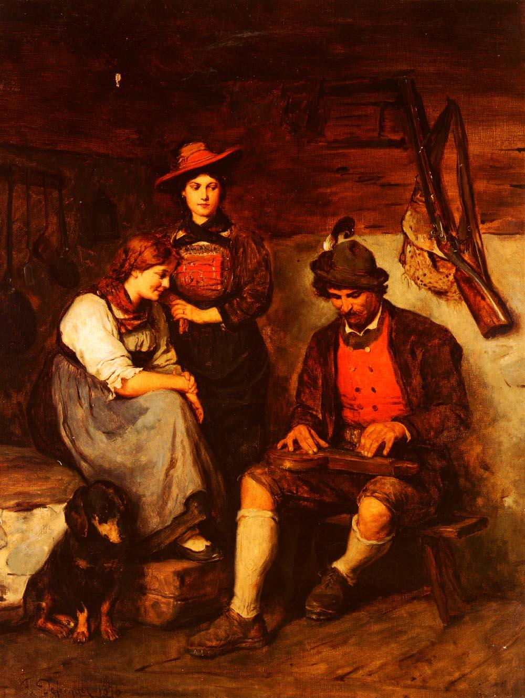 Der zitherspieler Auf Der Alm | Franz Von Defregger | Oil Painting