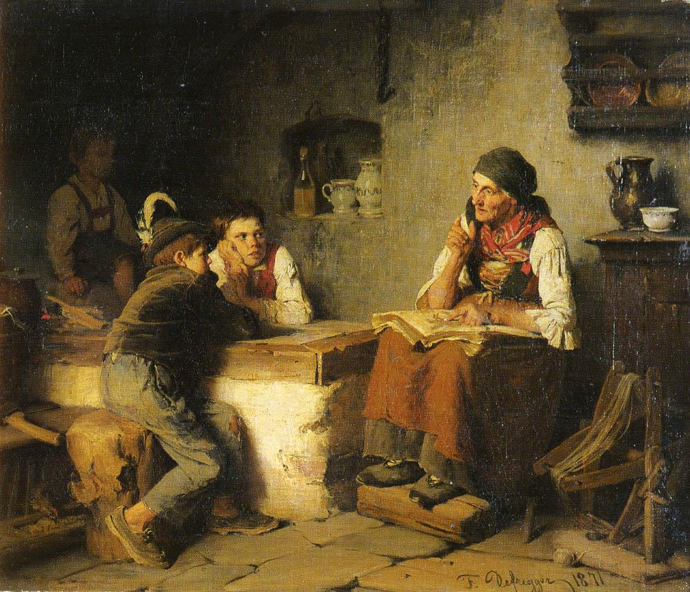 Die Marchenerzahlerin | Franz Von Defregger | Oil Painting