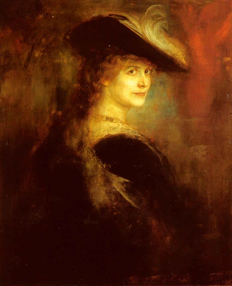Portrait Of An Elegant Lady In Rubenesque Costume | Franz Von Lenbach | Oil Painting