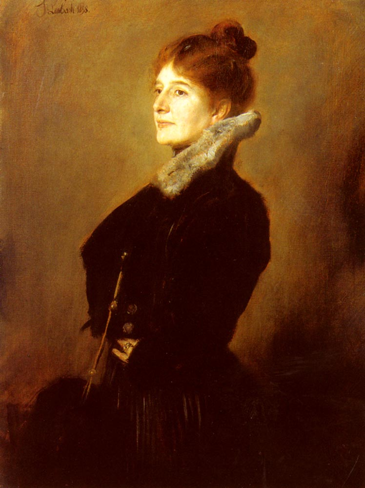 Portrait Of A Lady Wearing A Black Coat With Fur Collar | Franz Von Lenbach | Oil Painting