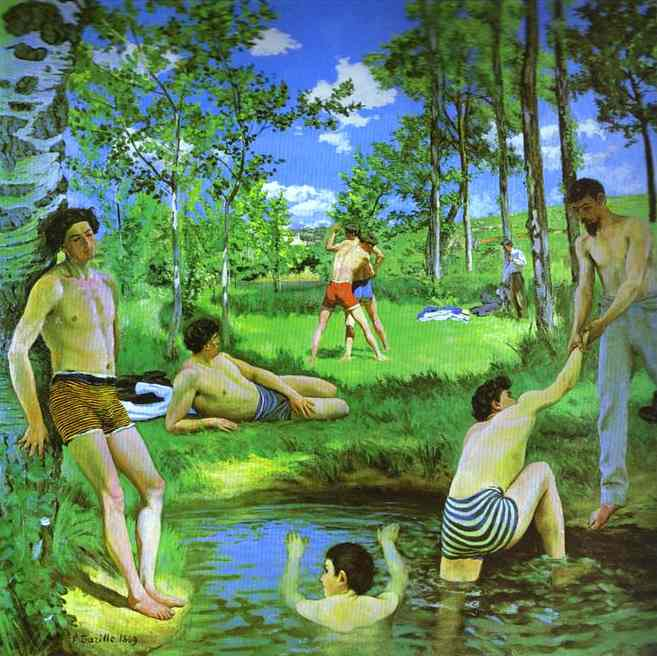 Bathers Summer Scene 1869   Frederic Bazzille   Oil Painting
