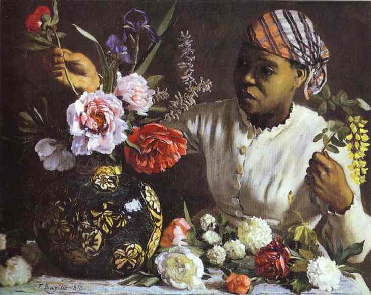 Negress With Peonies 1870 | Frederic Bazzille | Oil Painting