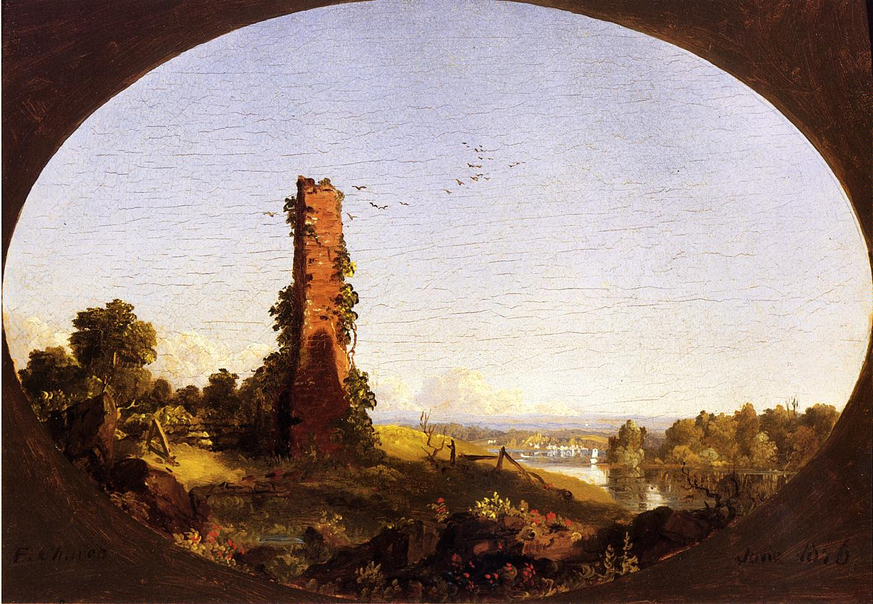 New England Landscape with Ruined Chimney 1846 | Frederic Edwin Church | Oil Painting