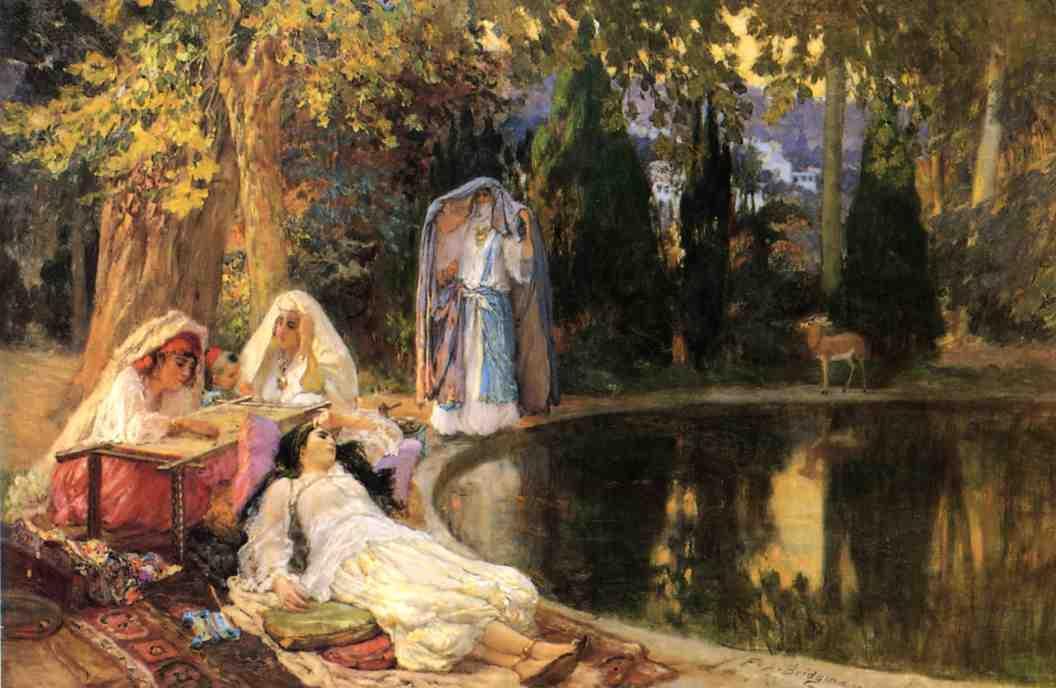 In the Garden at Mustapha  1897-1899   Frederick Arthur Bridgeman   Oil Painting