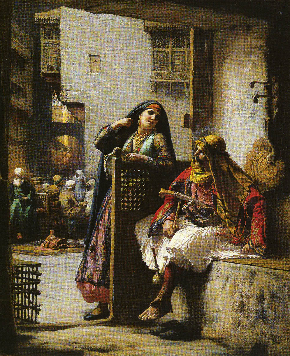 Almeh Flirting With An Armenian | Frederick Arthur Bridgman | Oil Painting