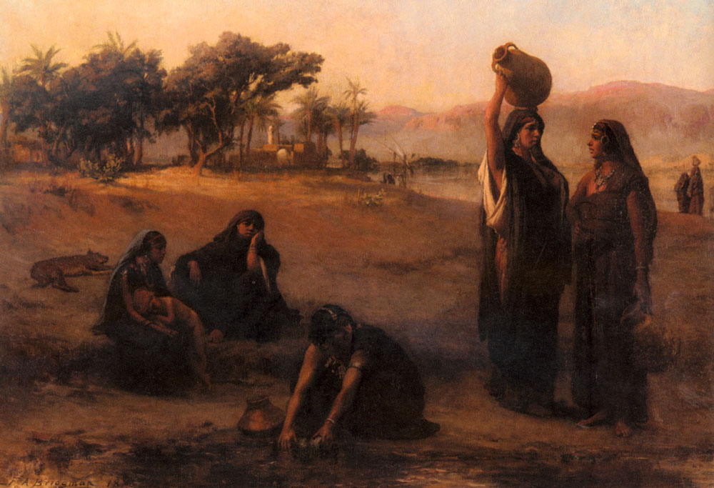 Women Drawing Water From The Nile | Frederick Arthur Bridgman | Oil Painting