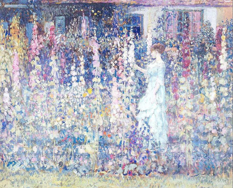 Hollyhocks 1913 | Frederick Carl Frieseke | Oil Painting