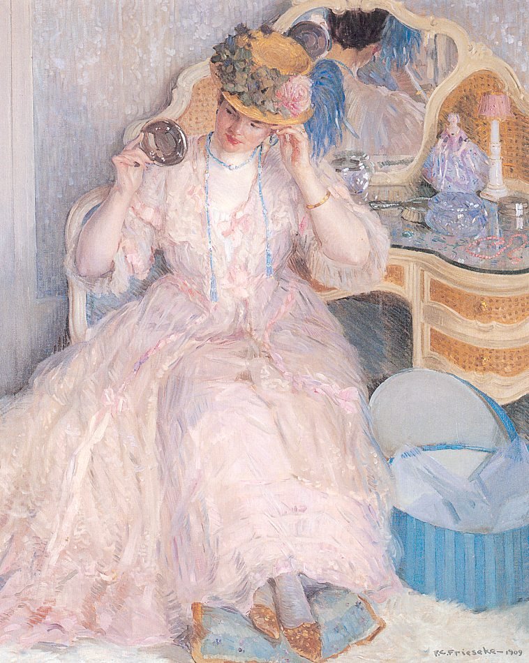 Lady Trying On A Hat 1909 | Frederick Carl Frieseke | Oil Painting