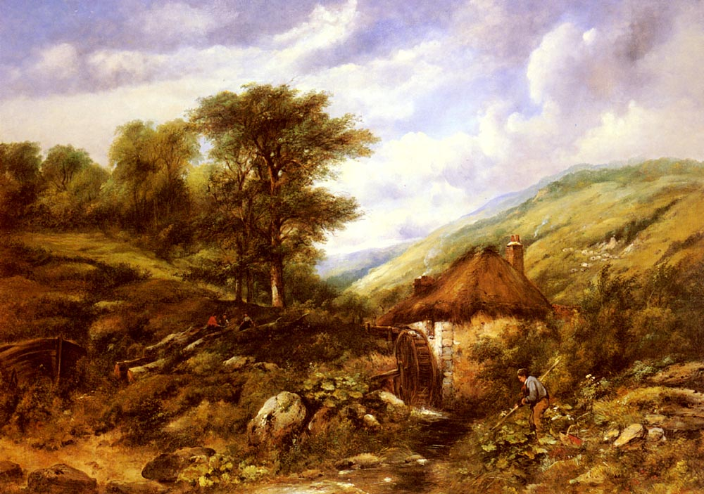 An Overshot Mill in a Wooded Valley | Frederick William Watts | Oil Painting