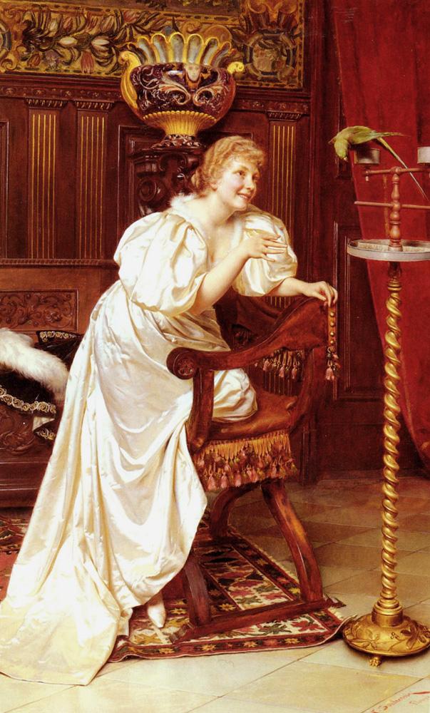 Le Peroquet Favori   Frederic Soulacroix   Oil Painting