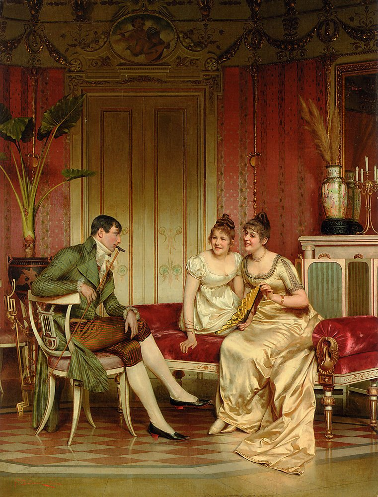 The Afternoon Visitor   Frederic Soulacroix   Oil Painting