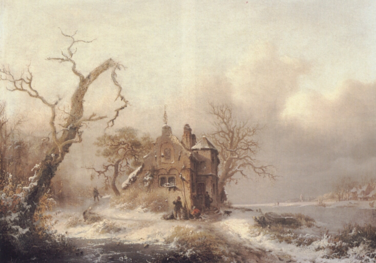 Figures In A Winter Landscape | Frederik Marianus Kruseman | Oil Painting