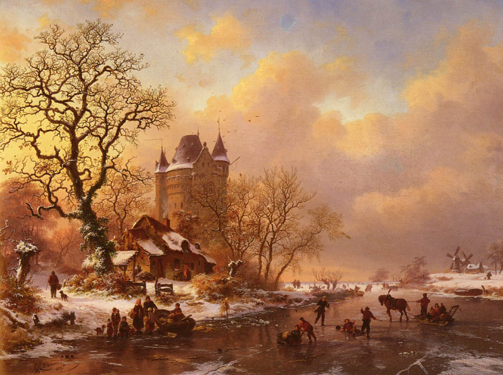 Skating In The Midst Of Winter | Frederik Marianus Kruseman | Oil Painting
