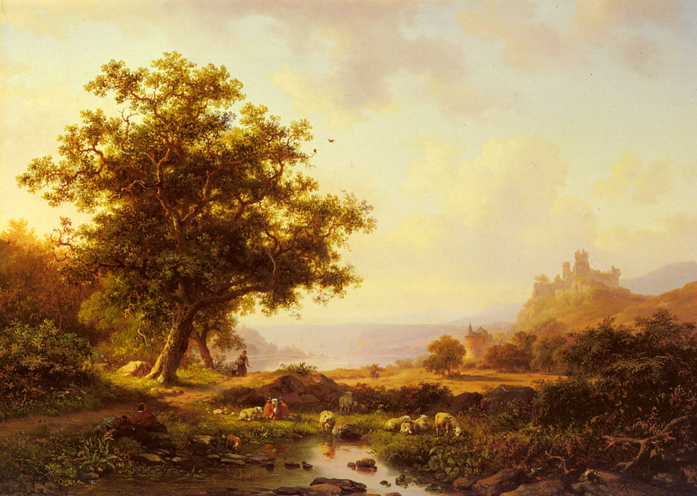 An Extensive River Landscape With A Castle On A Hill Beyond | Frederik Marianus Kruseman | Oil Painting