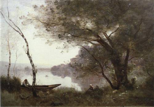 The Boatman of Mortefon 1865-1870 | Jean Baptiste Camille Corot | Oil Painting