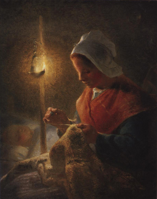 Woman Sewing By Lamplight 1870-1872 | Jean Francois Millet | Oil Painting