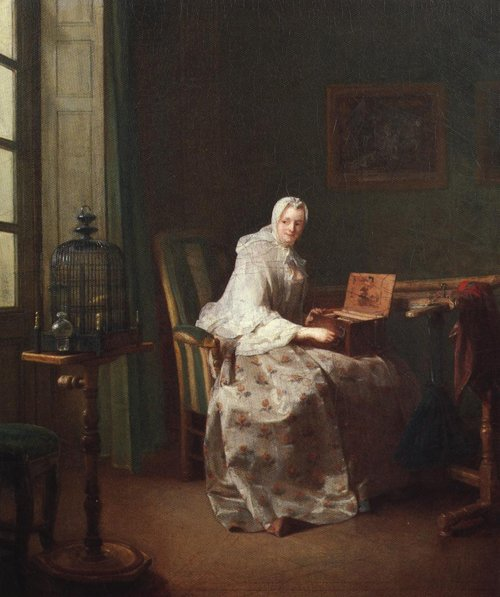 Lady with a Bird Organ 1753 | Jean Simeon Chardin | Oil Painting