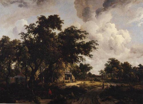 Village with Water Mill Among Tree 1660-1670 | Meyndert Hobbema | Oil Painting