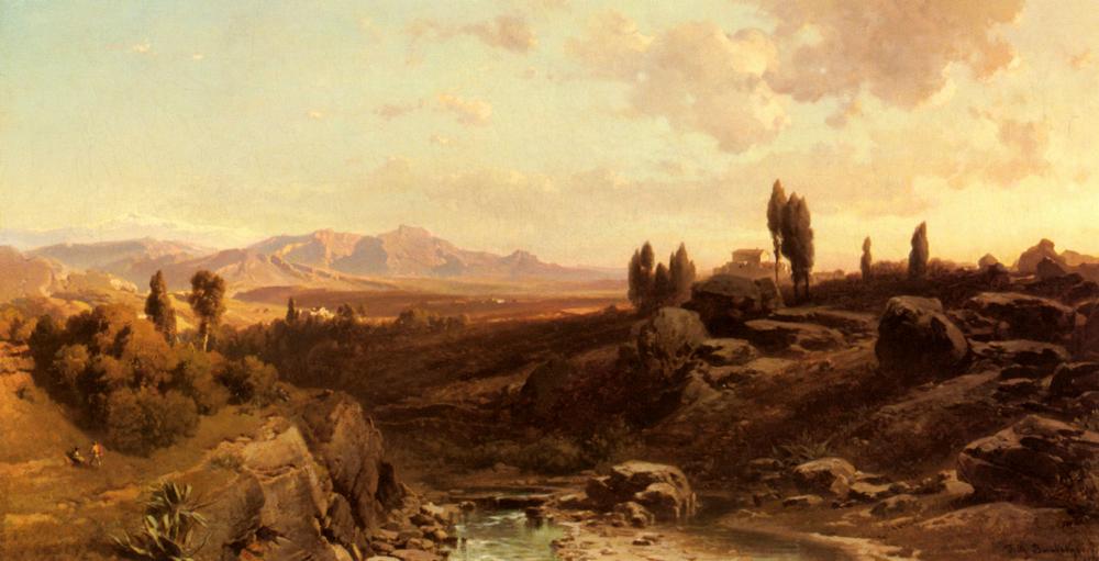 Blick Uber Die Sierra Navada   Friedrich Bamberger   Oil Painting