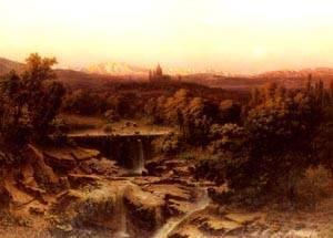 An Extensive River Landscape   Fritz Bamberger   Oil Painting