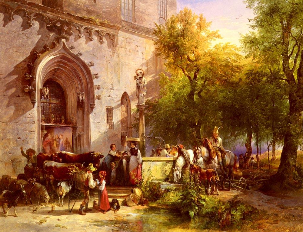 Der Dorfbrunn | Friedrich Gauermann | Oil Painting