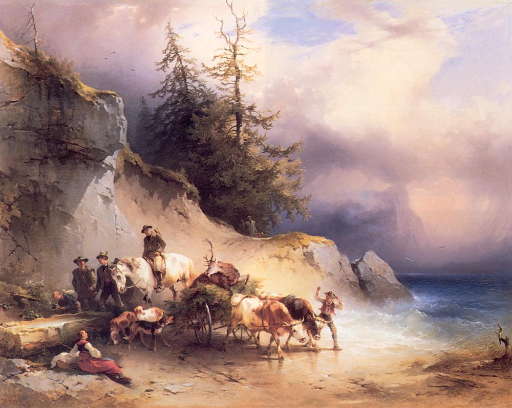 Heimkehr von der Jagd Am Attersee | Friedrich Gauermann | Oil Painting