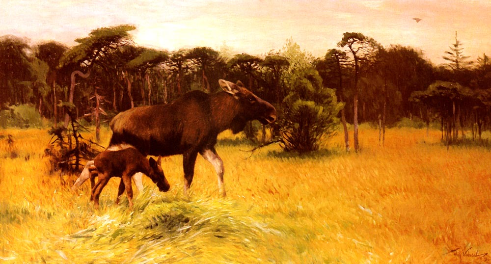 Moose With Her Calf In A Landscape | Friedrich Wilhelm Kuhnert | Oil Painting