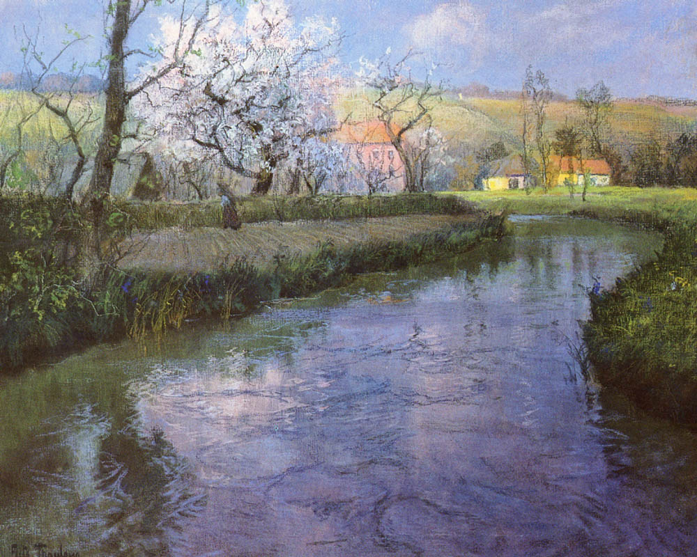 A French River Landscape | Frits Thaulow | Oil Painting