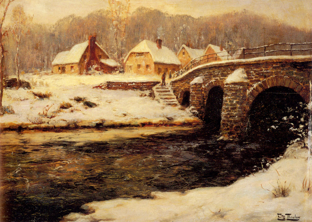 A Stone Bridge Over A Stream In Water | Frits Thaulow | Oil Painting