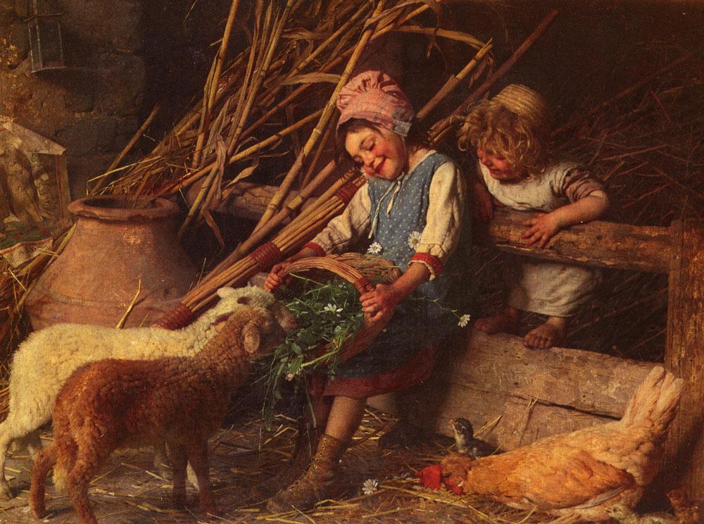 Feeding The Lambs | Gaetano Chierici | Oil Painting