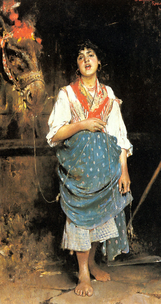 A Peasant Girl With A Horse | Gaetano Esposito | Oil Painting
